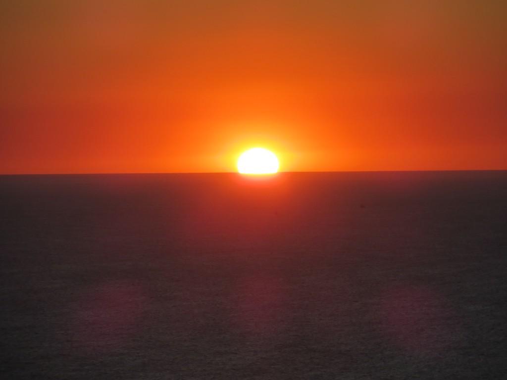Zonsondergang bij het andere strand.
