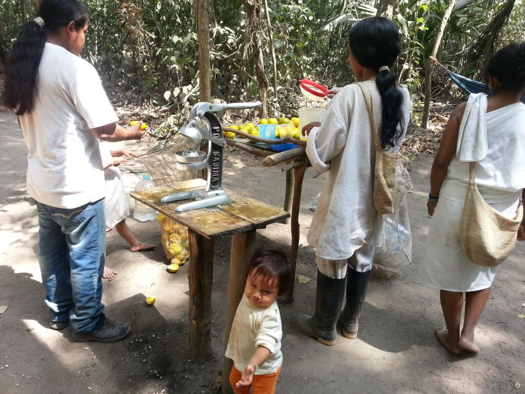 Tayrona Park. Slim gezin dat halverwege vers sap verkoopt.