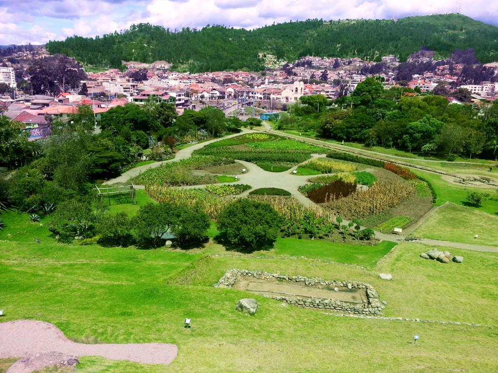 De botanische tuin met uitzicht over de stad.