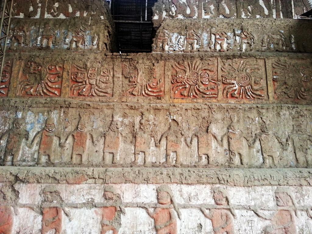 De muurtekeningen in Huaca de la Luna zijn nog in goede staat.