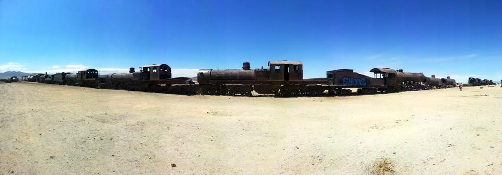 Helemaal aan het einde van de tour kwamen we bij het treinenkerkhof. Hier staan lange rijen met locomotieven en hun wagens langzaam weg te roesten. Jammer, maar mooi om te zien.