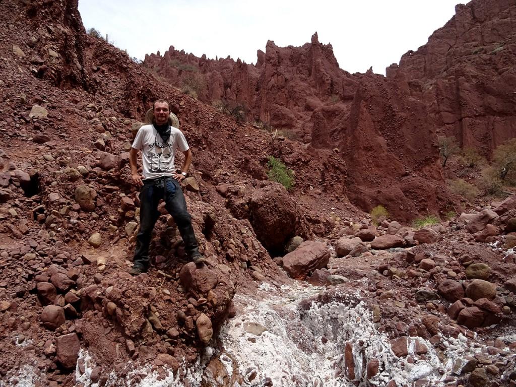 De woestijn van Tupiza bestaat uit rode rotsen, witte zoutaanslag en hier en daar een groen boompje. Perfect moment voor mij om te poseren als een Cowboy.
