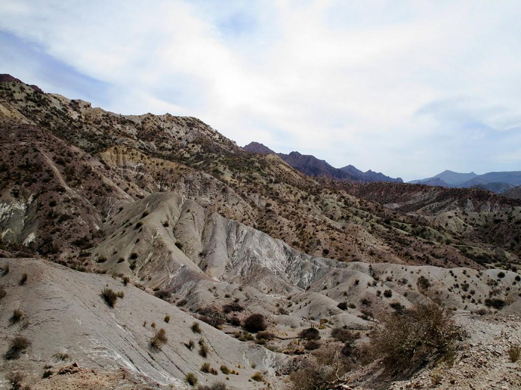 Opeens kan de rode kleur veranderen in een grijs bergachtige vlakte met alleen maar struikjes en cactussen.